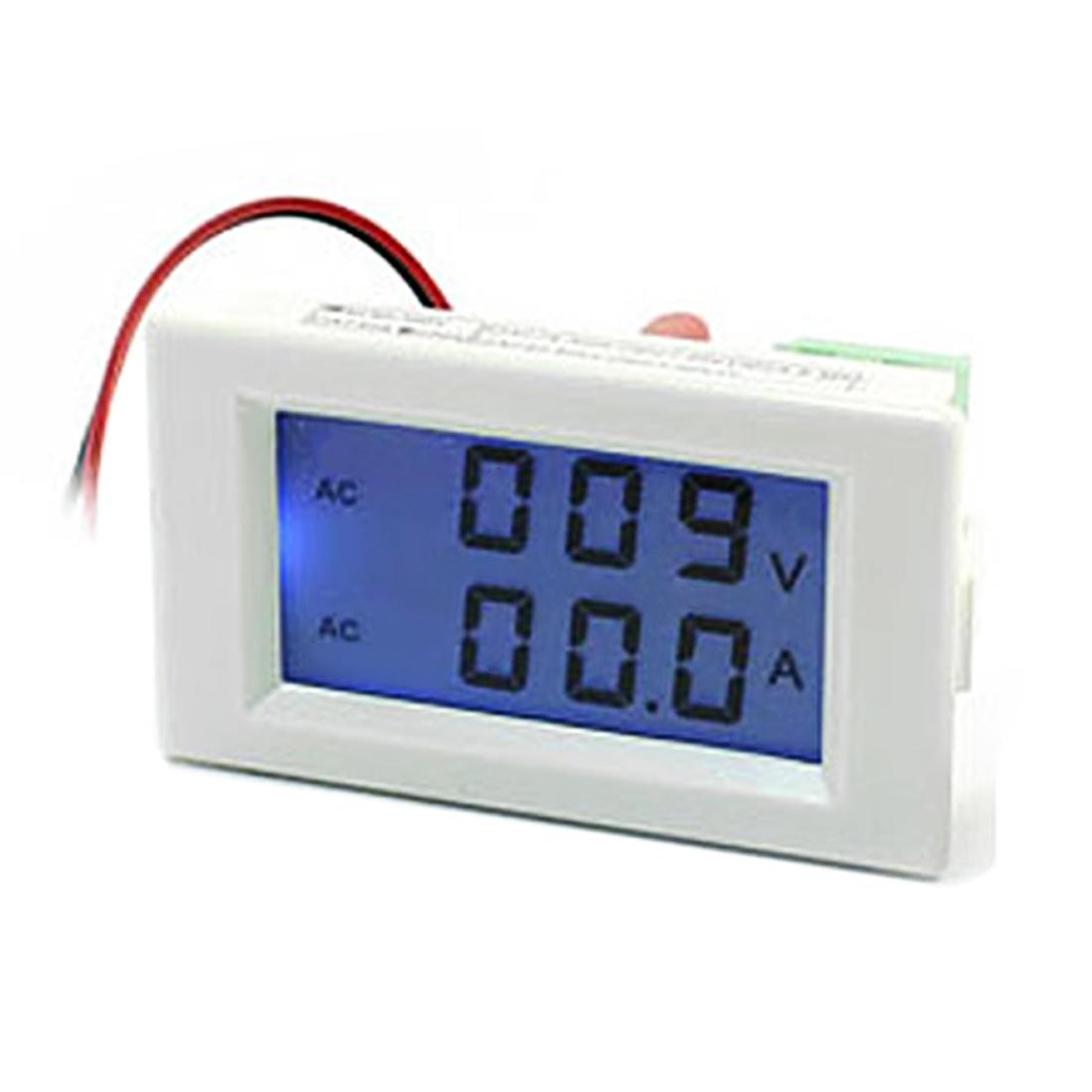 AC 80-300V 100A Type Black LED Digital Display Blue Ammeter Voltmeter