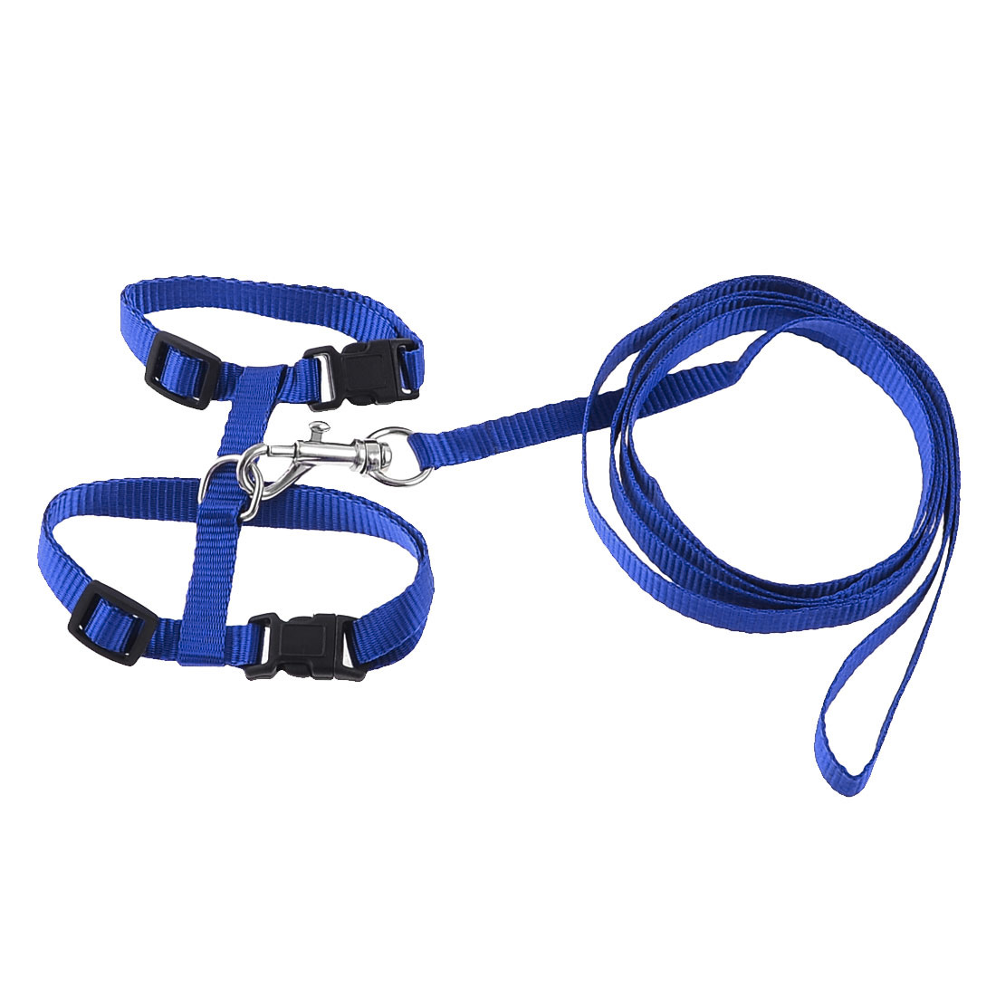 Adjustable Blue Nylon Pet Cat Dog Release Buckle Harness Leash 121cm Length