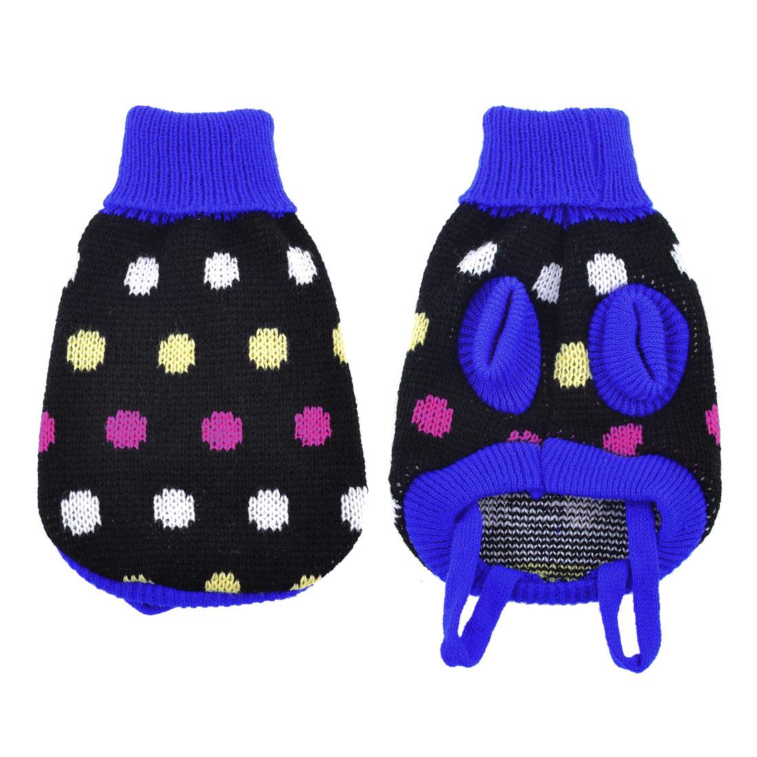 Pet Dog Puppy Black Blue Dot Print Turtleneck Warm Sweater Clothing Coat XXS