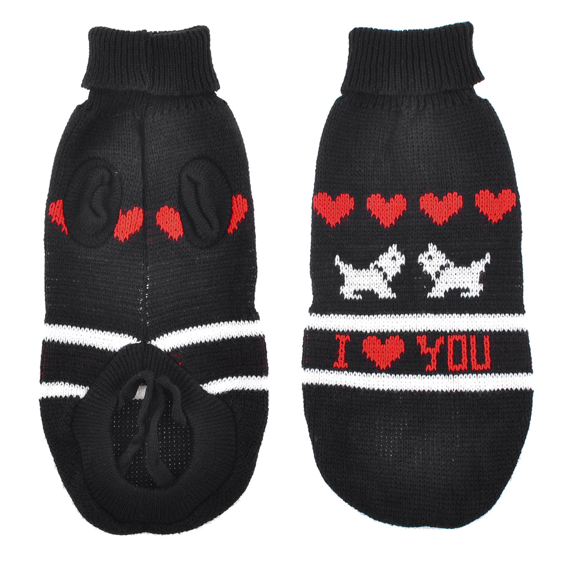 Warm Black Red Heart Pattern Knitted Sleeves Pet Dog Sweater Clothes Size XS