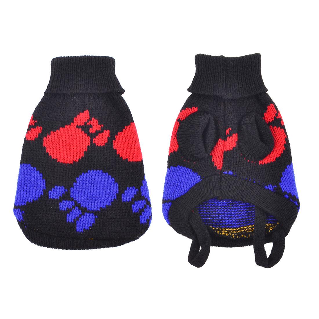Pet Dog Yorkie Black Blue Knitted Turtleneck Paw Print Sweater Apparel Size XXS