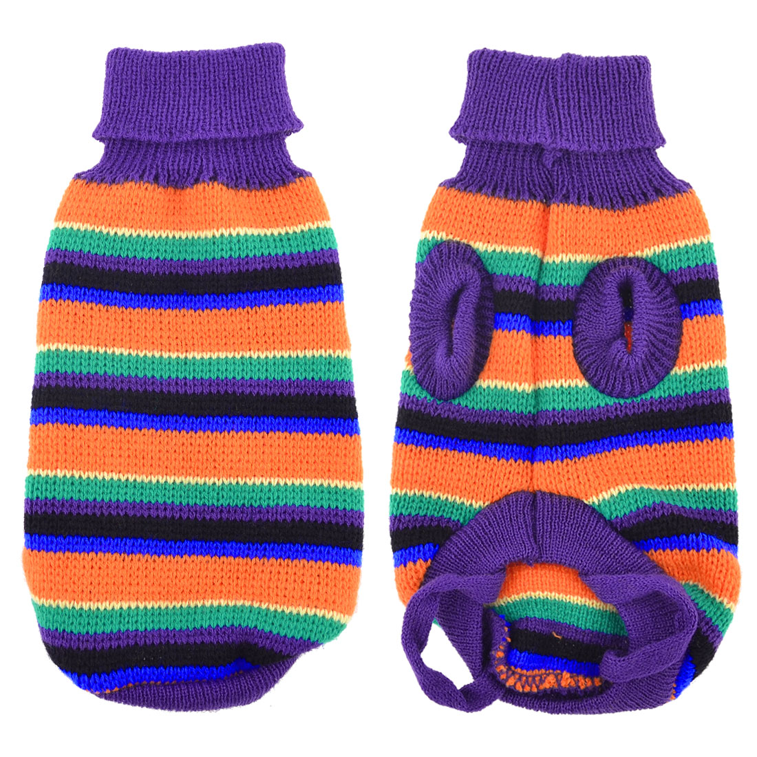 Purple Orange Knitted Striped Turtleneck Pet Dog Yorkie Sweater Apparel Size XS