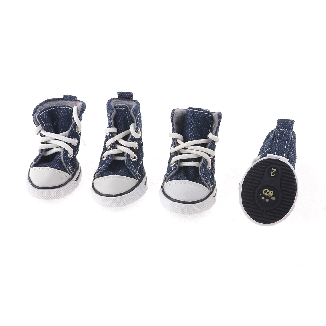 Pet Dog Chihuahua Navy Blue Running Rubber Sole Winter Sneakers Shoes Size XS