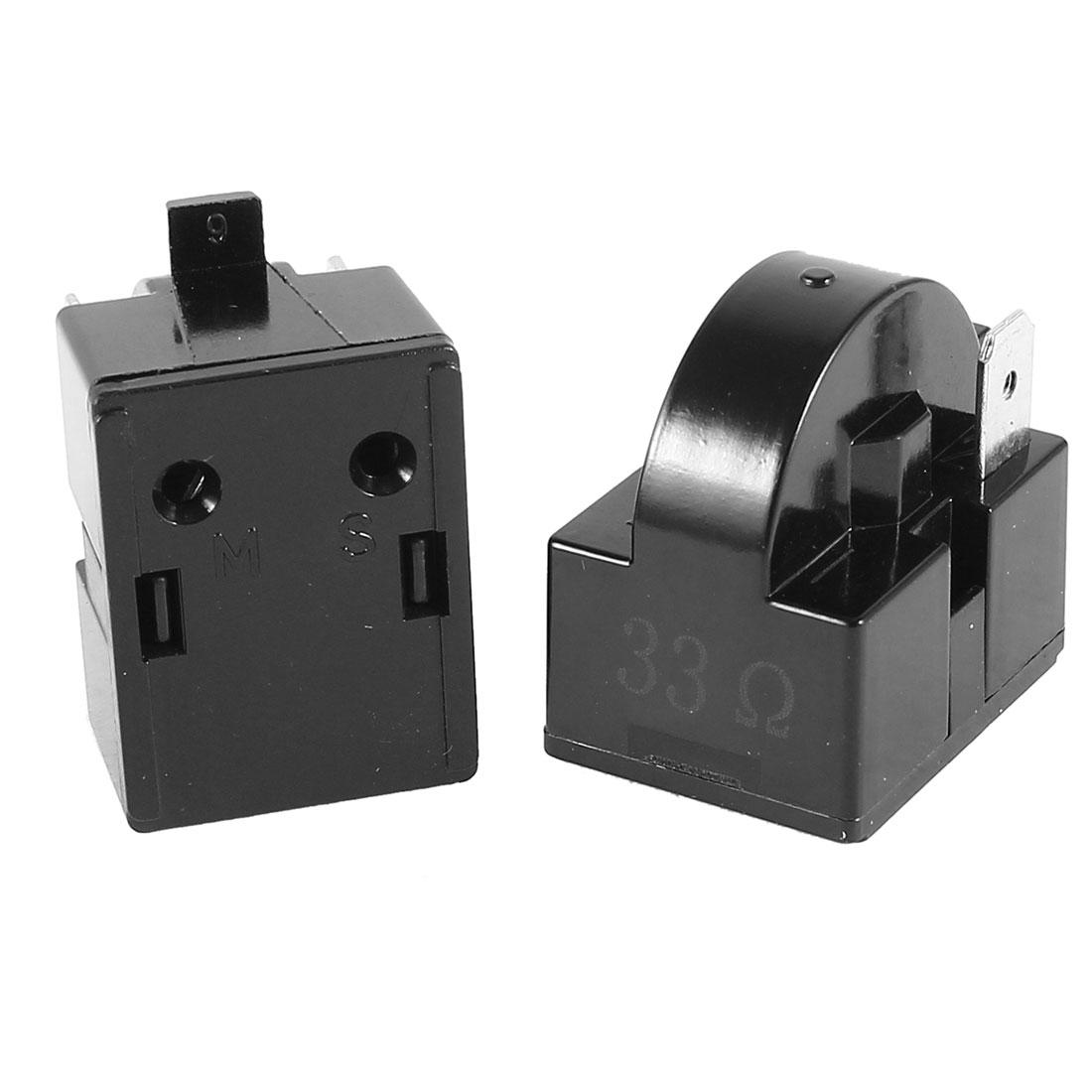 2 Pcs Black Plastic Housing 33 Ohm PTC Starter Relay for Refrigerator