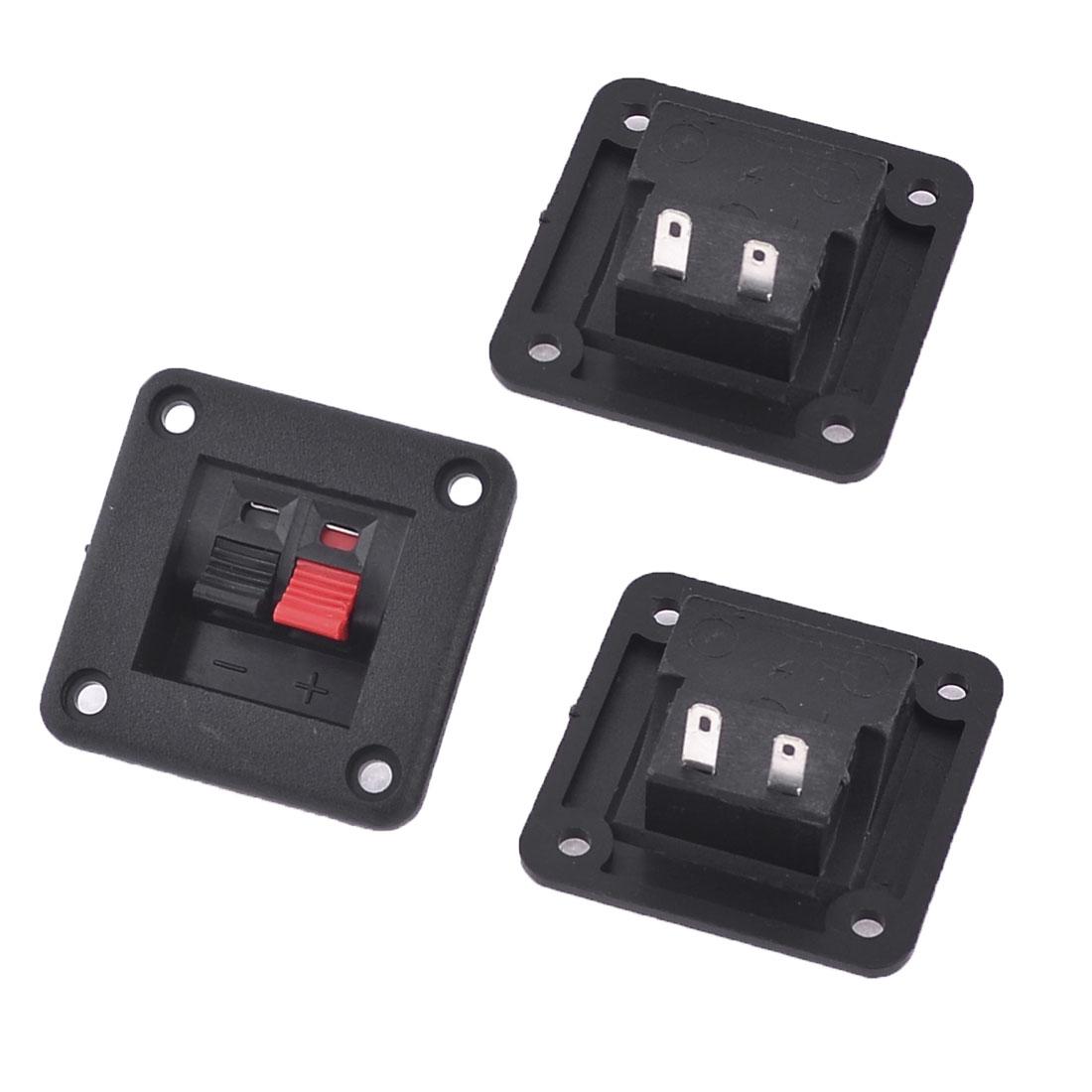 Audio Cable Clip Single Row 2 Position Push in Jack Speaker Terminals 3 Pcs