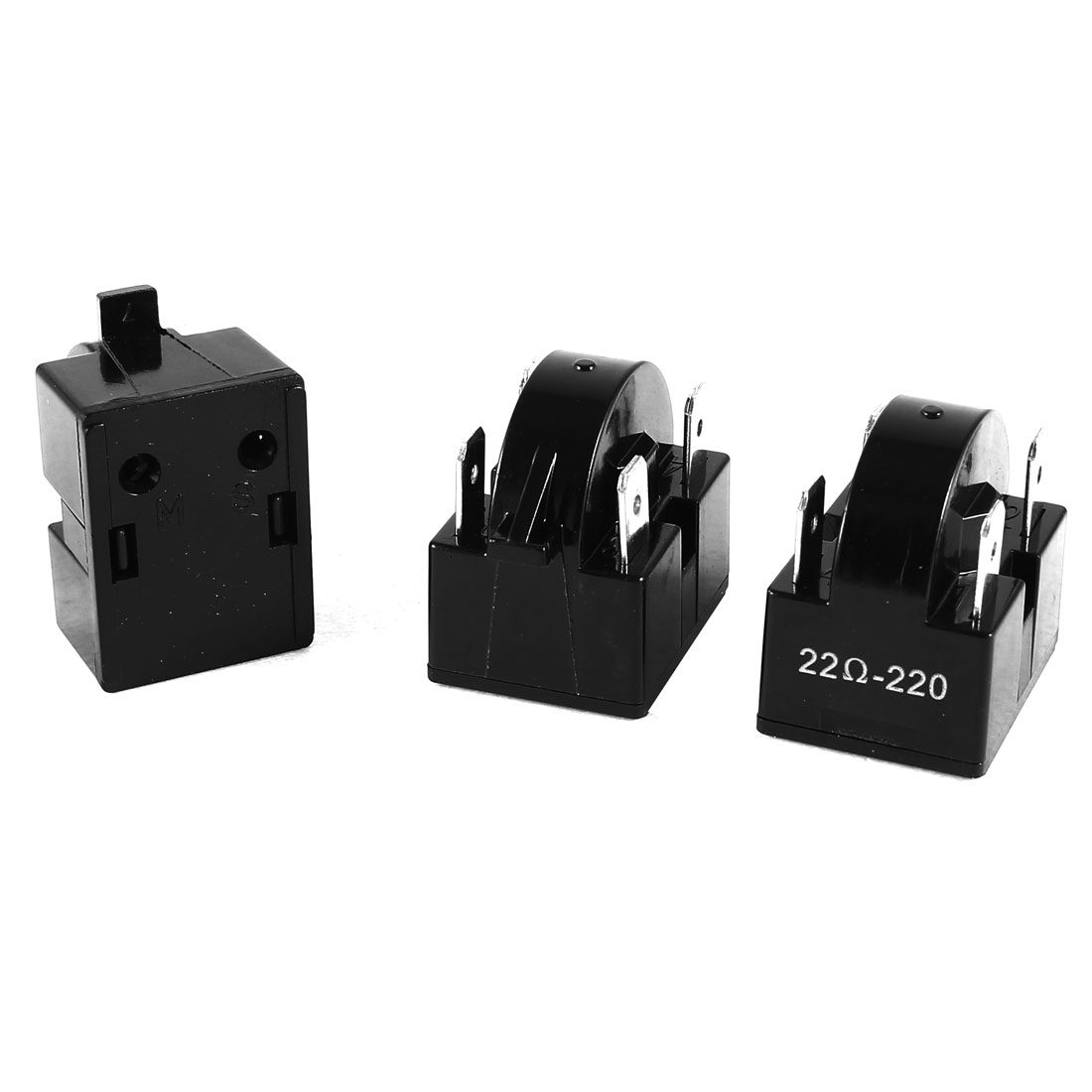 3 Pcs Black Plastic Housing 22 Ohm 4 Pins PTC Starter Relay for Refrigerator