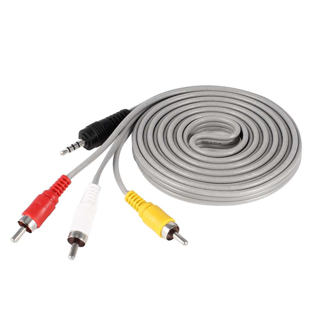 3.5mm Stereo Mini AV to 3 RCA Male Audio Video Adapter Cable Gray 10Ft