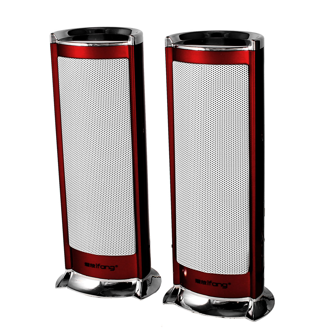 Silver Tone Red Cylindrical PC Laptop Volume Control USB 2.0 Mini Speaker Box