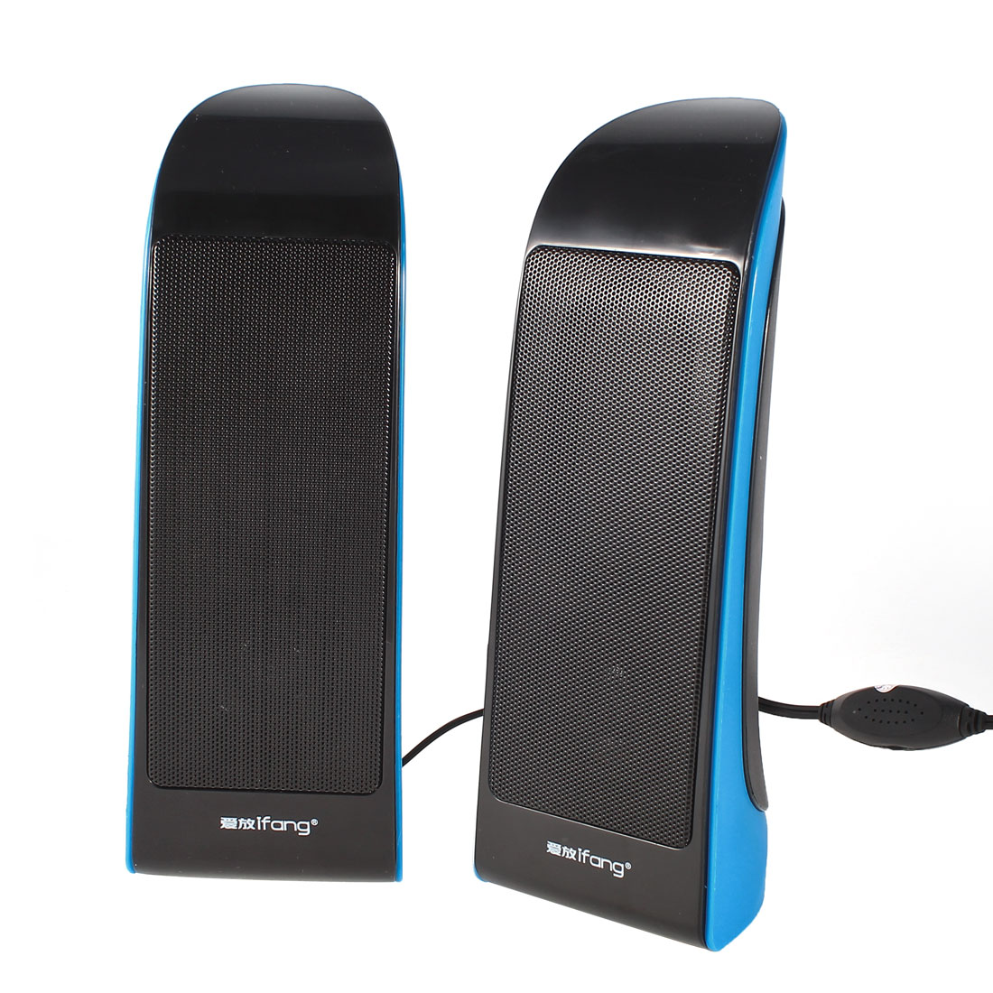 Pair Blue Black Desktop PC Laptop Volume Control USB 2.0 Mini Speaker Box