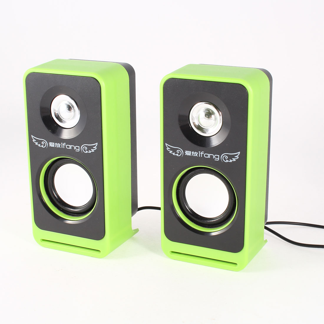 Black Green Rectangle PC Laptop Volume Control USB 2.0 Mini Speaker Box