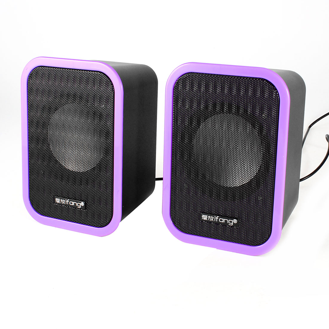 Pair Black Purple Rectangle USB 2.0 3.5mm Mini Desktop Sound Speaker Box