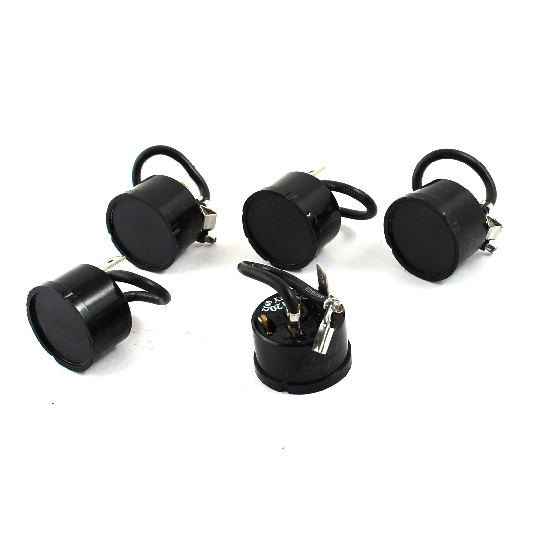 Black 1/8 HP Fridge Component Overload Thermal Protect Relay Starter 5pcs 220V