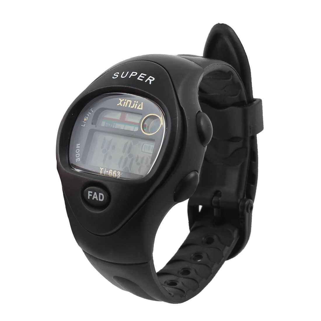 Lady LCD Display Digital 11 Hole Adjustable Band Stopwatch Watch Black