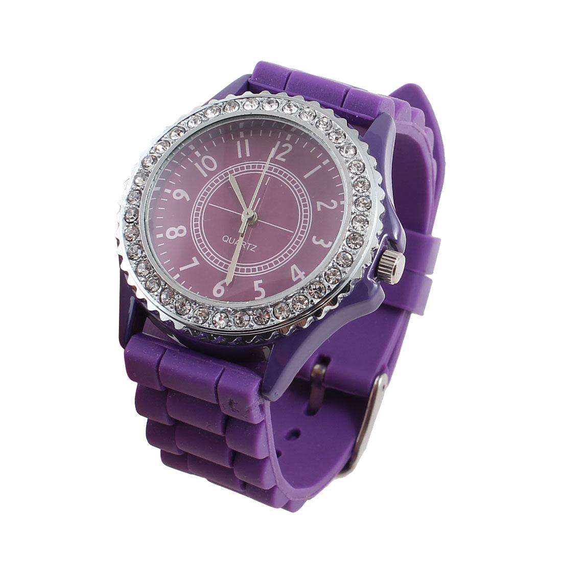 Lady Purple 2cm Width Adjustable Band Rhinestone Decor Wristwatch