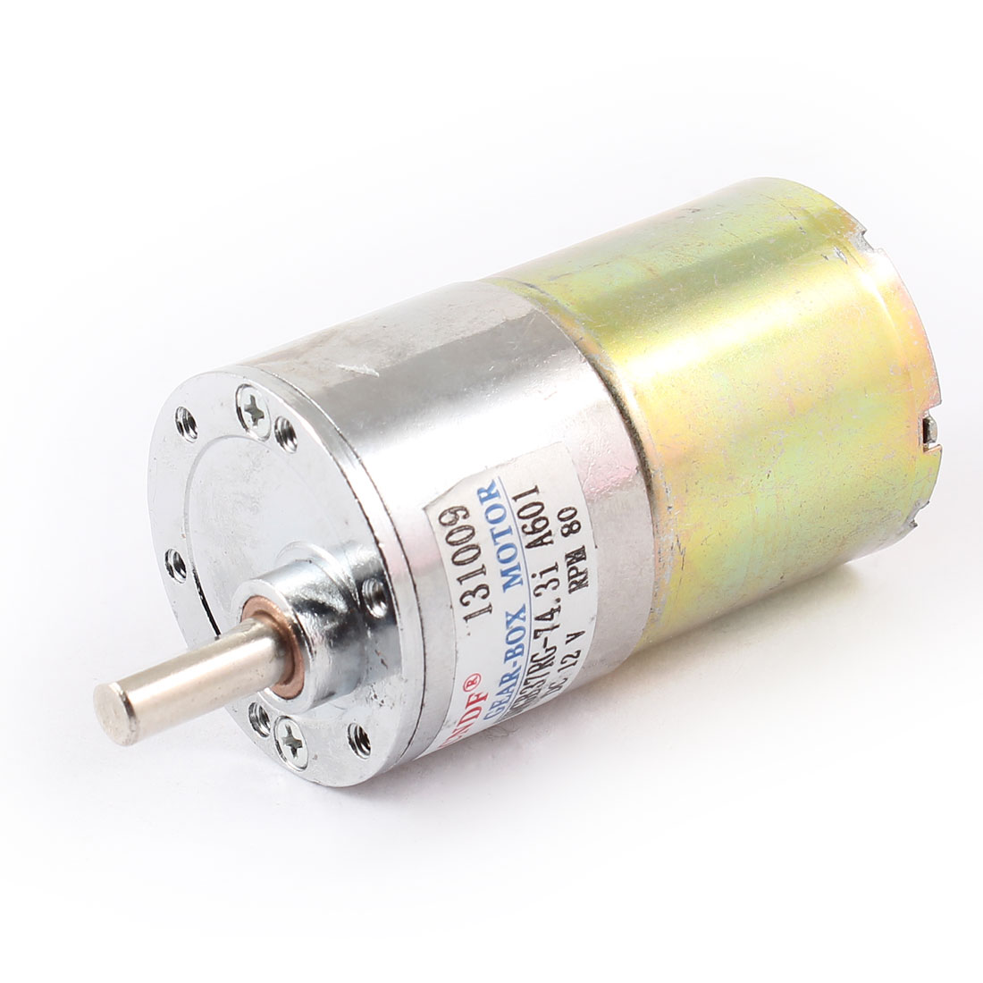 DFGB37RG-74.3i Cylinder Shape DC 12V Speed 80 RPM Geared Box Motor