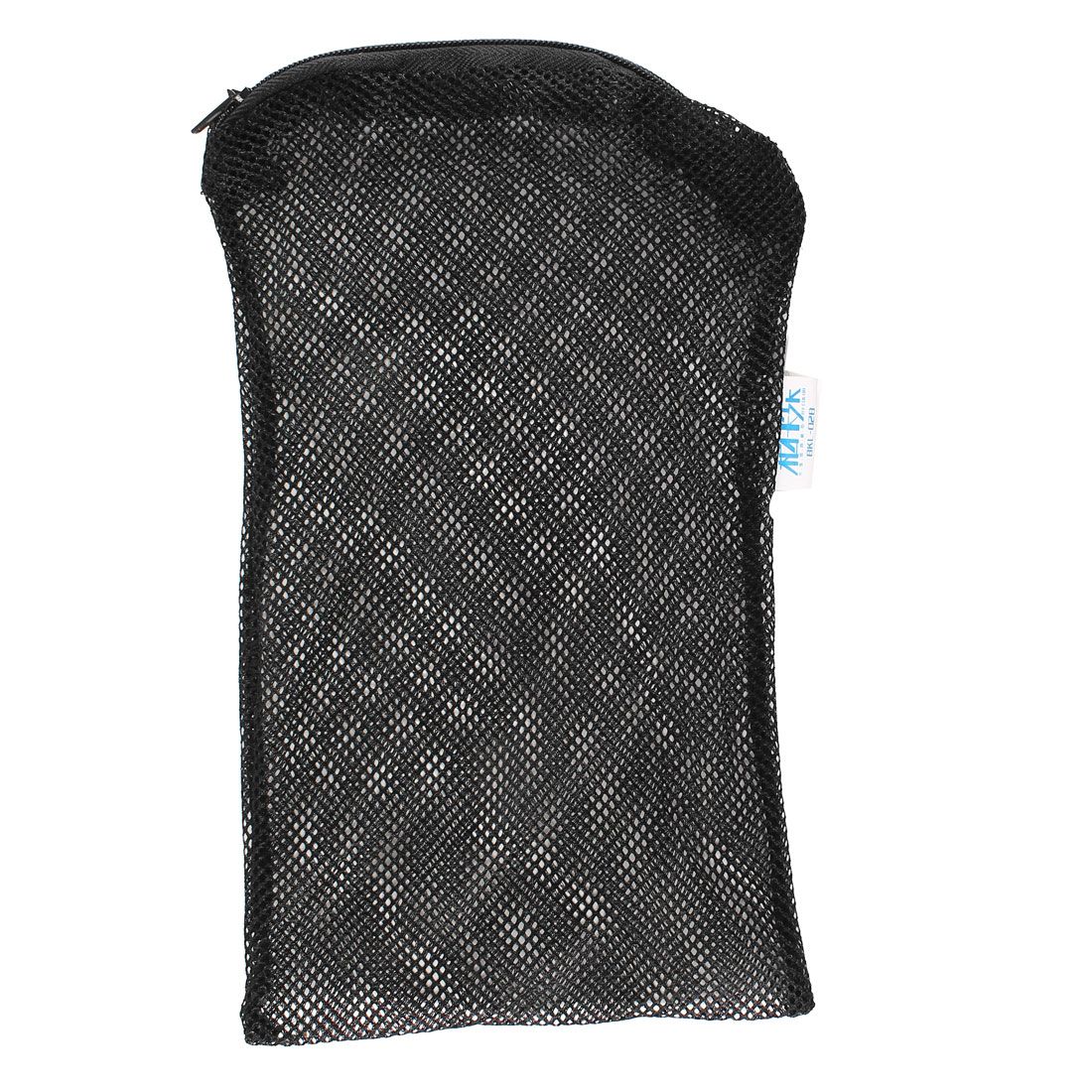 Black Laundry Clothes Zipper Nylon Washing Machine Holder 20cm x 12cm