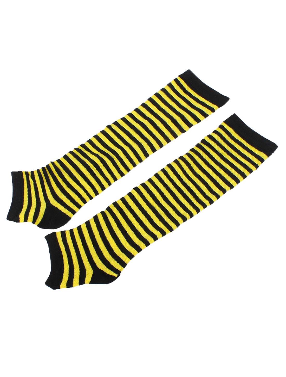 Women Black Yellow Stretchy Toeless Knee High Knitted Leg Warmer w Boat Socks 2 Pair Set