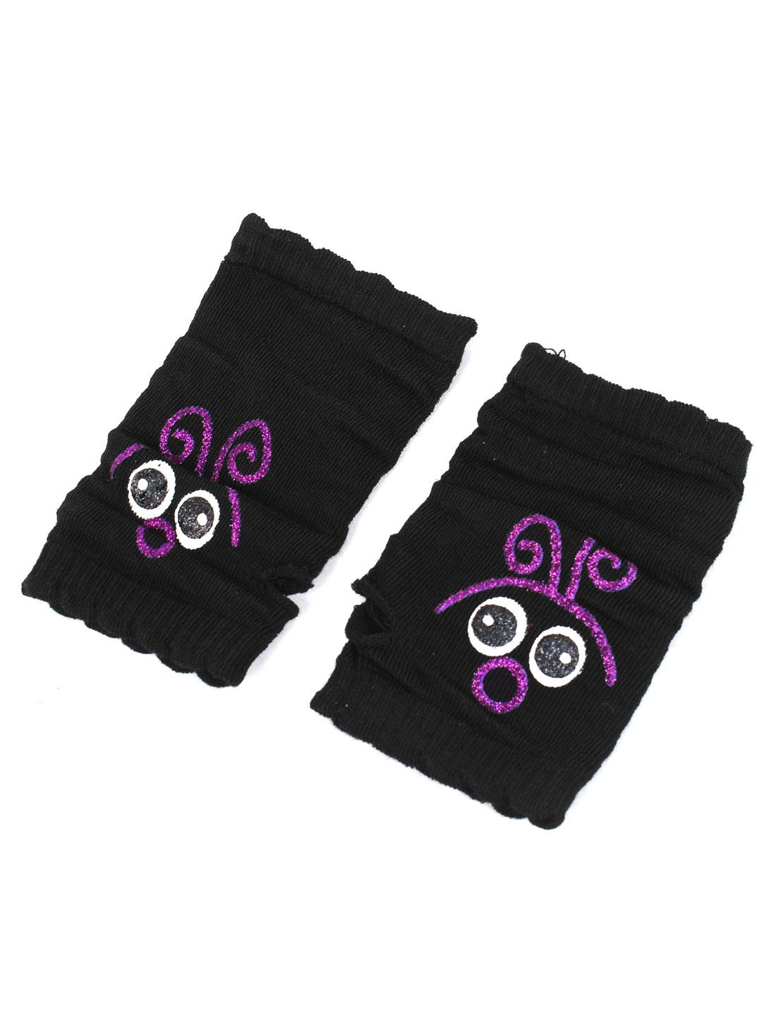 Woman Pair Thumb Hole Cartoon Expression Pattern Winter Wrist Fingerless Gloves Black