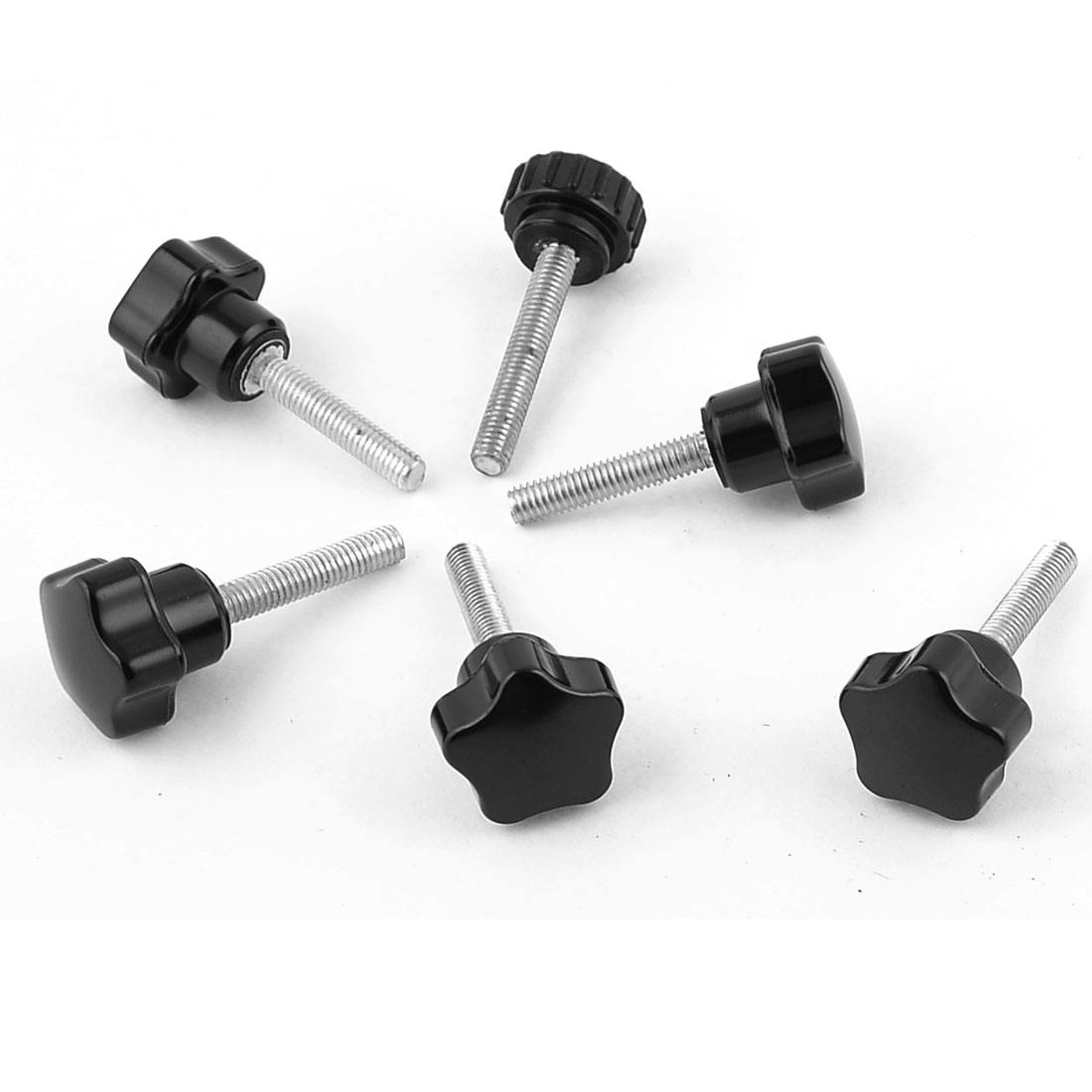 6 Pcs Black Spare Part M6 x 40mm Male Threaded Knurled Grip Star Knob