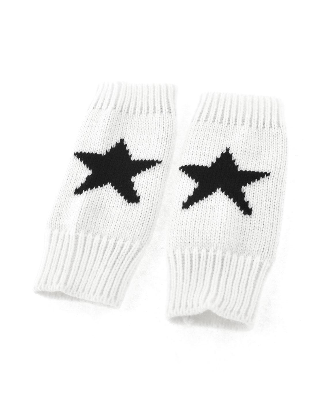 Unisex White Black Star Printed Stretchy Knitting Fingerless Gloves Pair