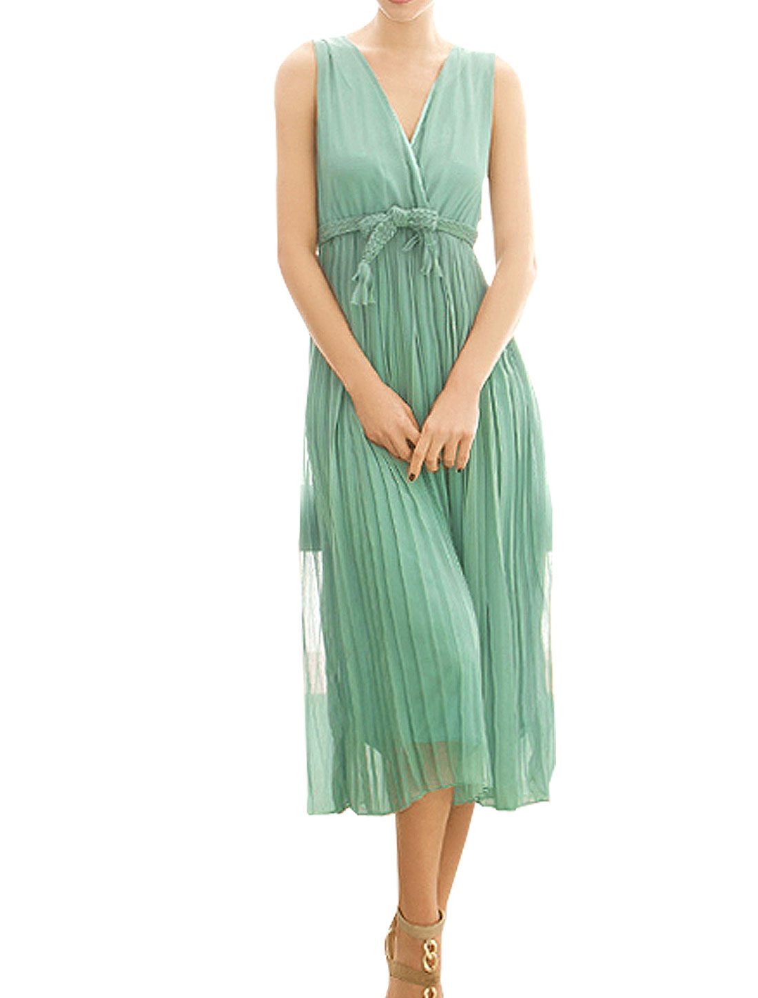 Sheath Waist Pullover Solid Green Long Chiffon Dress Size XS + Belt for Woman