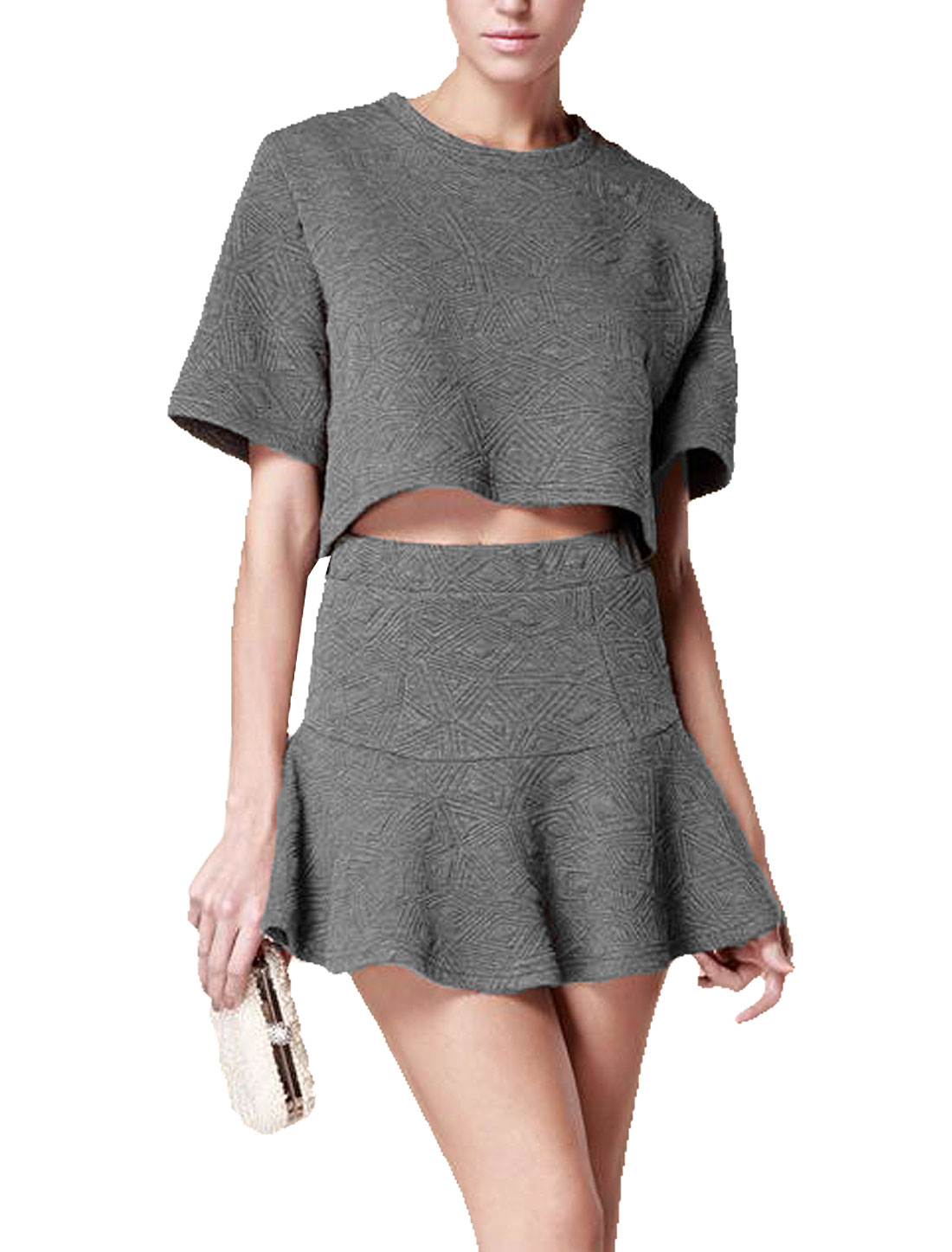 Round Neck Bell Sleeve Cropped Top + Mini A-Line Skirt Gray S for Women
