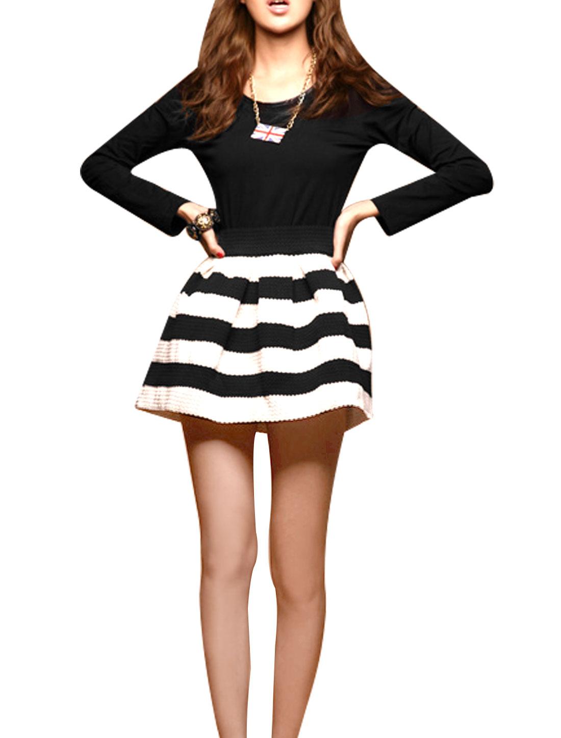 Ladies Round Neck Long Sleeve Zipper Back A-line Mini Dress Black White XS