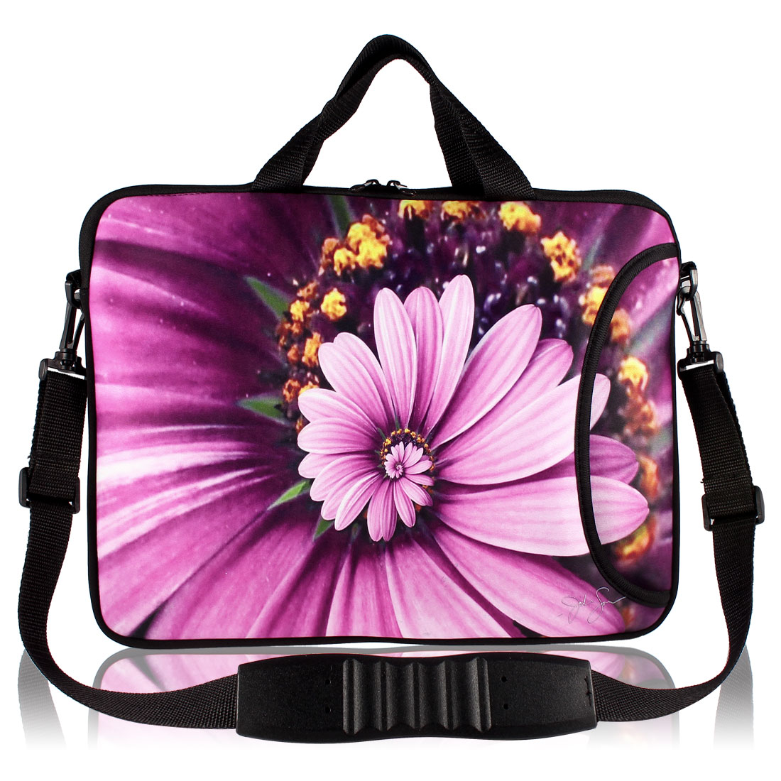 "13"" 13.3"" Fuchsia Chrysanthemum Printed Laptop Sleeve Handle Bag Case"