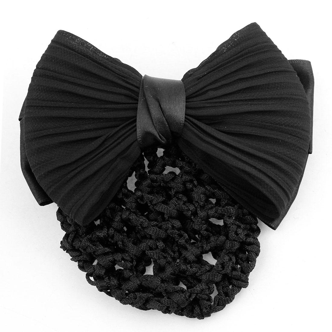 Ladies Black Double Bowtie Ornamental Hairnet Snood Net Hair Clip