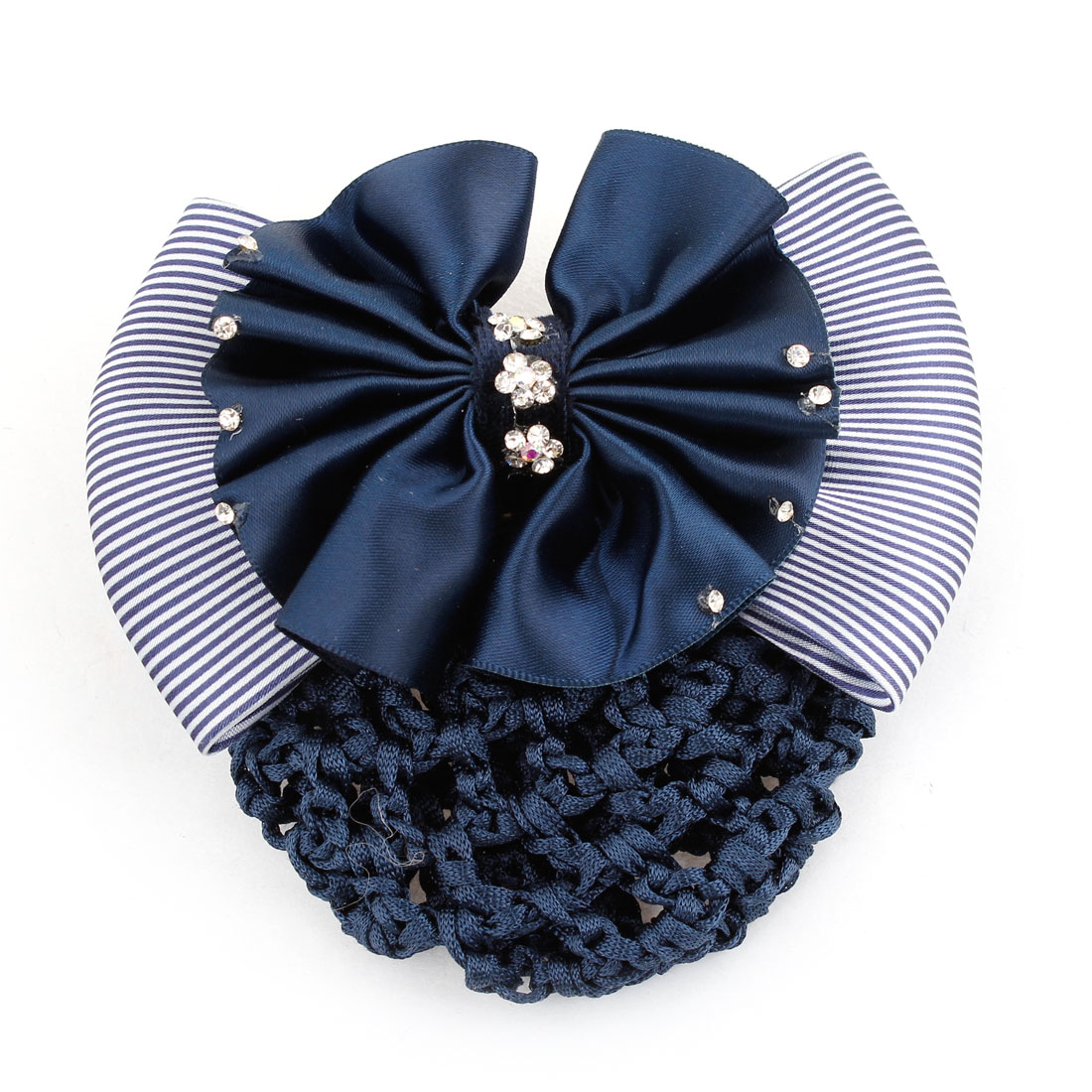 Woman Bowtie Rhinestones Flower Detail Hairnet Snood Net Hair Clip Navy Blue