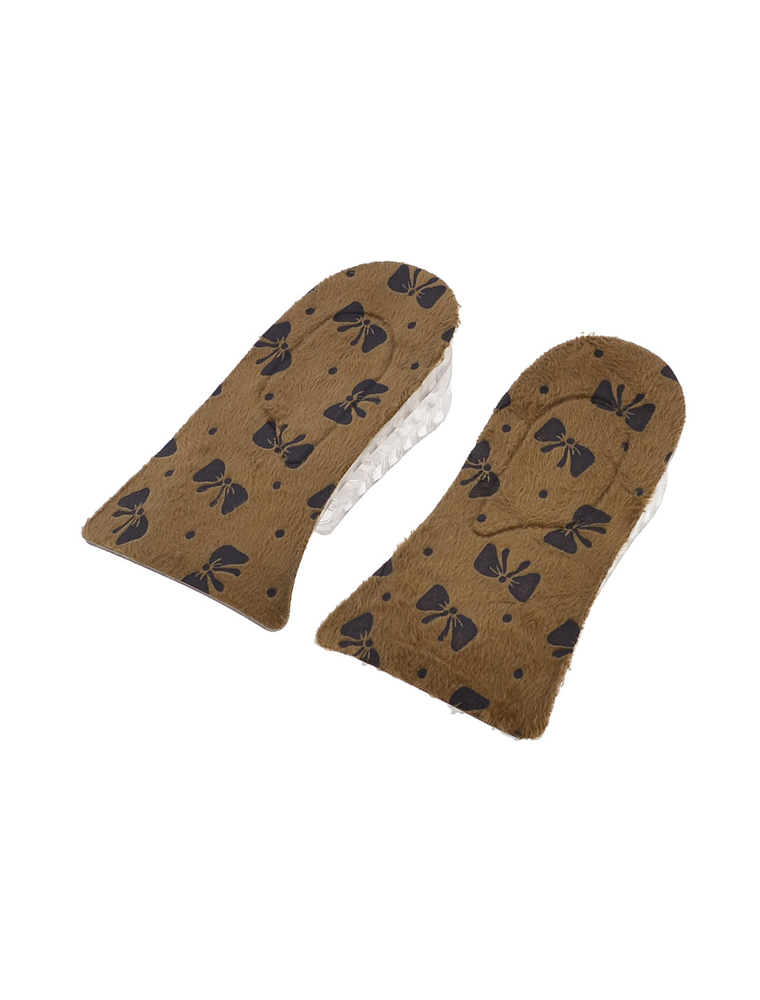 Pair Butterfly Print 3.8cm Taller Dual Layers Height Increase Insoles Brown