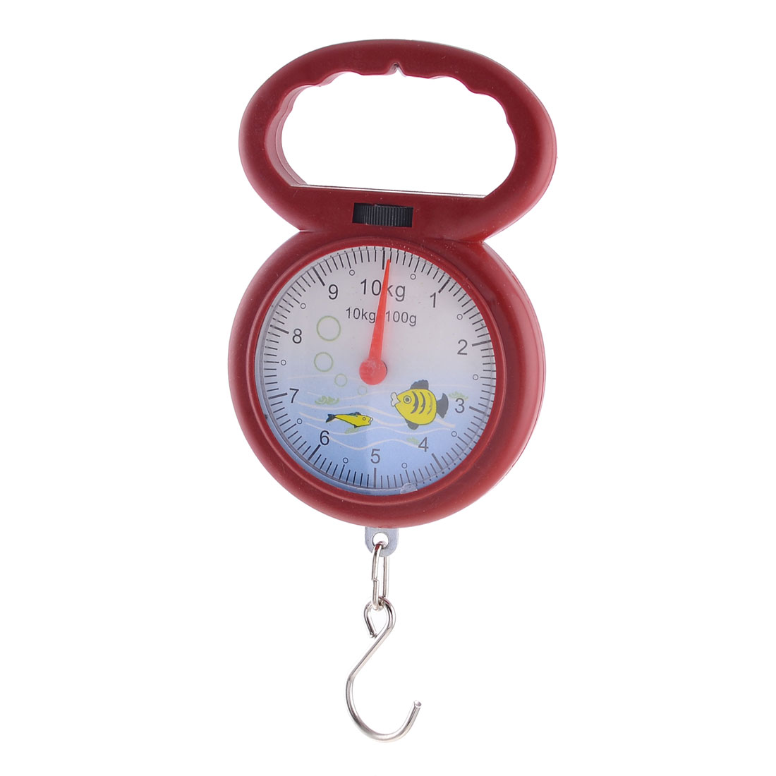 Red Plastic Housing Round Dial Weight Measurement Handheld Scale 10kg 22lb