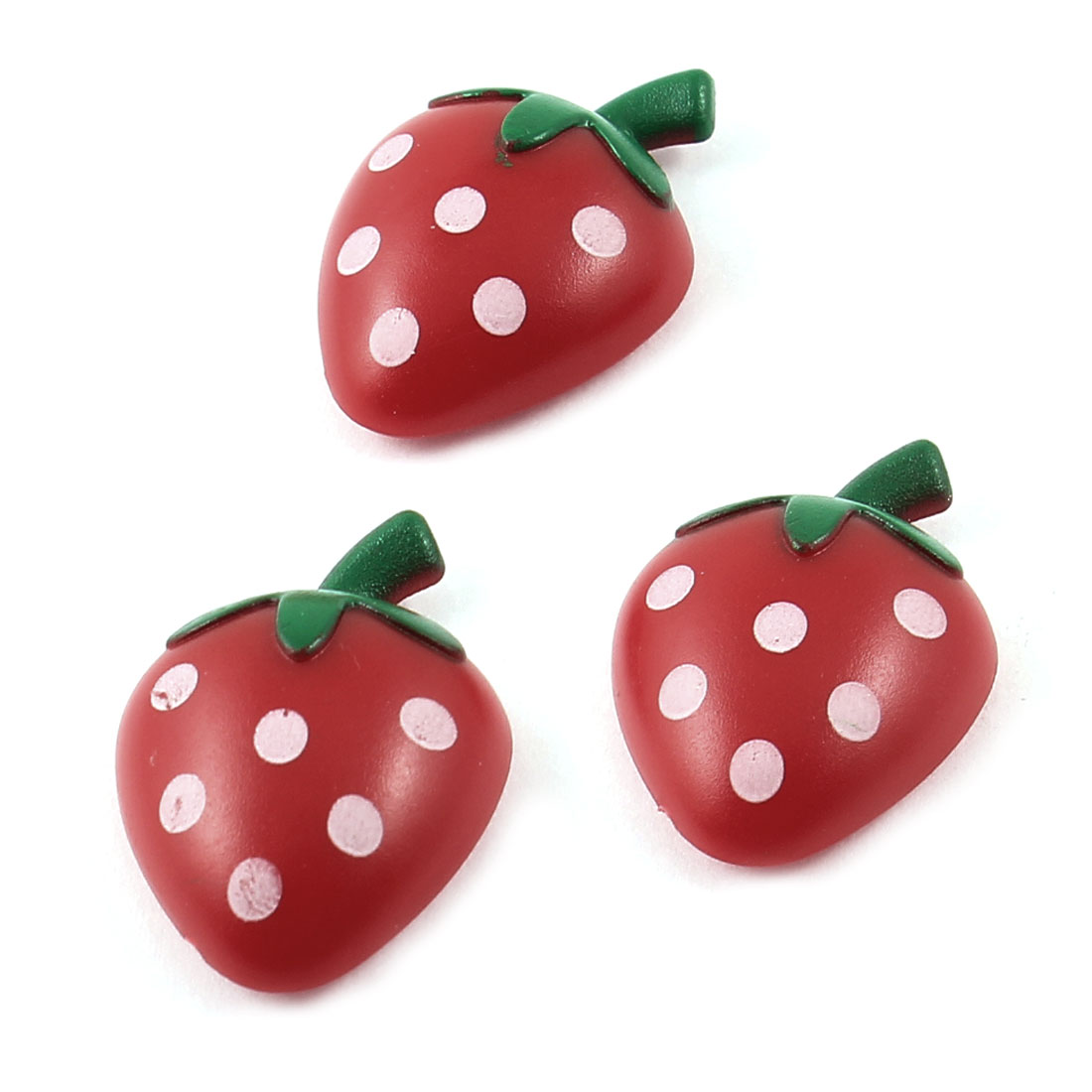 3 Pcs Red Green Plastic Strawberry Shaped Fridge Magnetic Sticker Ornament