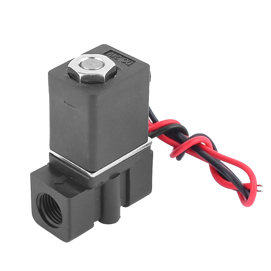 24VDC 6.0W Direct Acting Wired Electrical Solenoid Valve Black