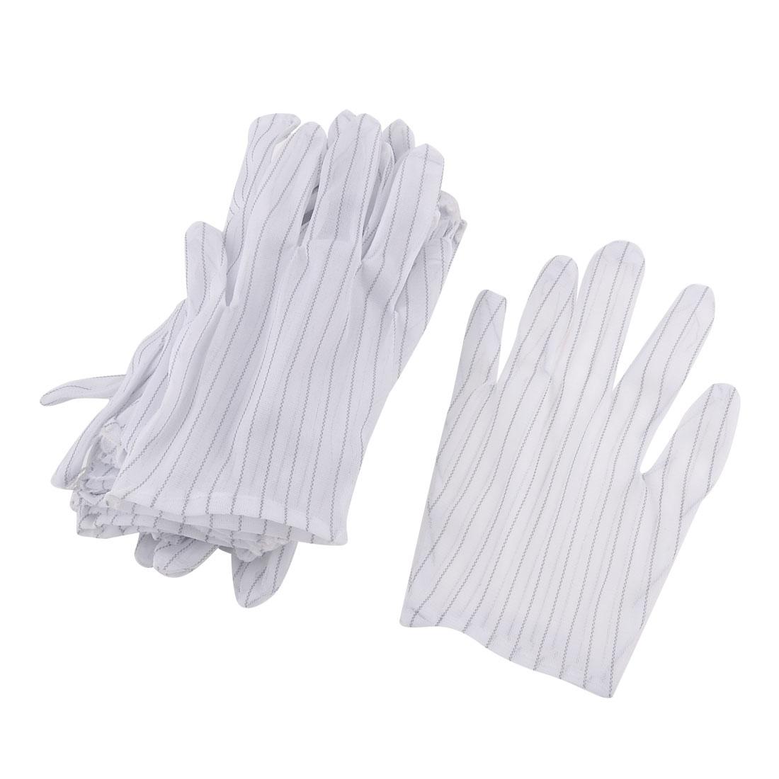 10 Pairs White Full Finger Stripes Pattern Anti-static Worker Long Gloves