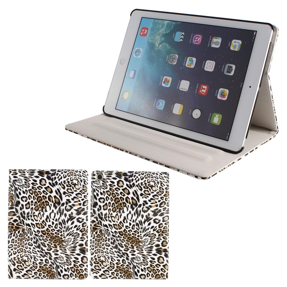 White Black Leopard Smart Wake/Sleep Flip PU Leather Case for iPad Air 5