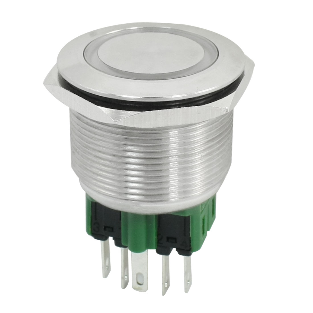 DC 24V Yellow Illuminated LED 25mm Momentary Push Button Switch SPDT