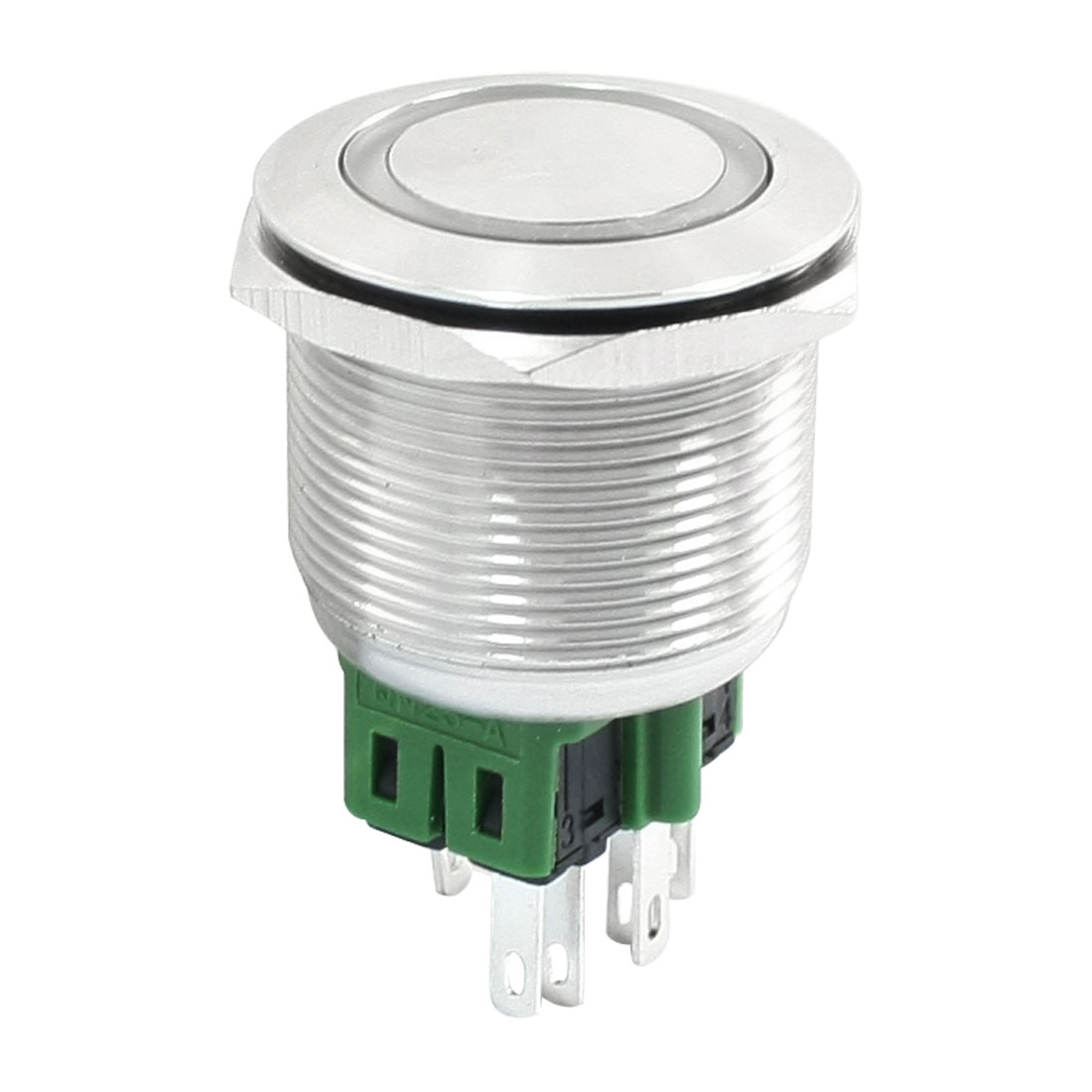 SPDT 25mm Mounting Green Ring LED Light 24V Momentary Button Switch