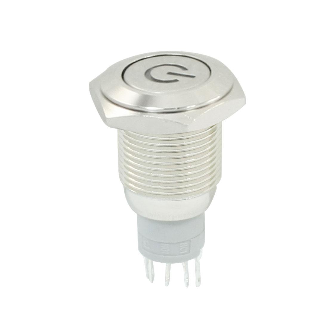 12V Blue LED Light Stainless Steel Momentary Push Button Switch SPDT