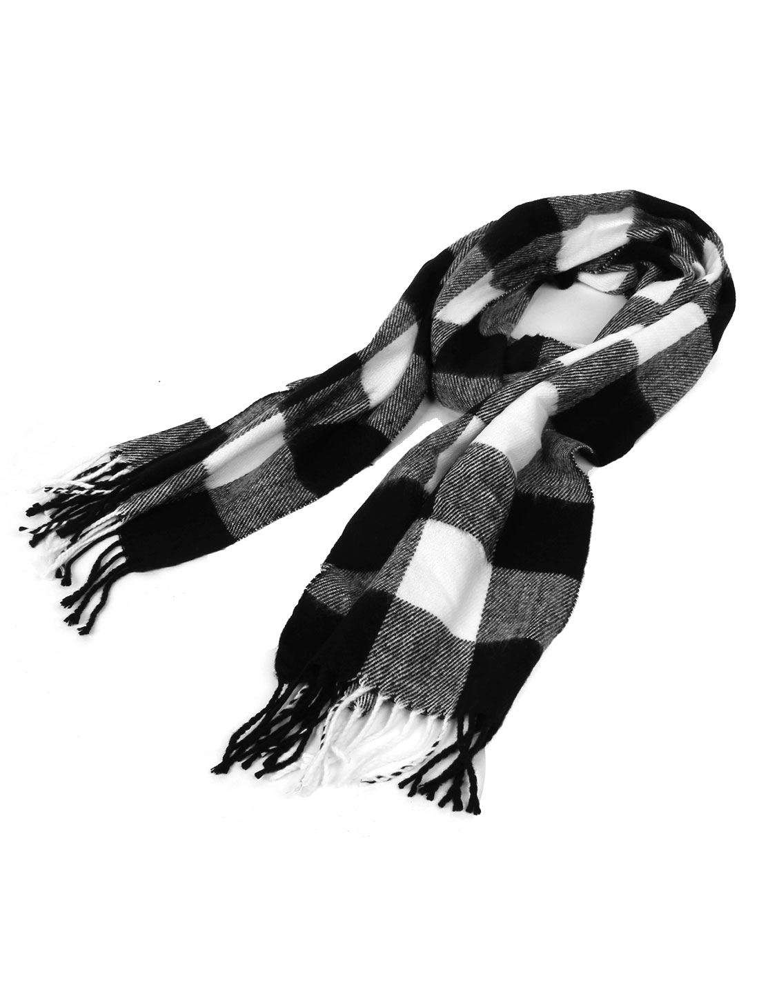 Men White Black Check Pattern Tassel Decor Hem Winter Long Scarf 185cmx31cm