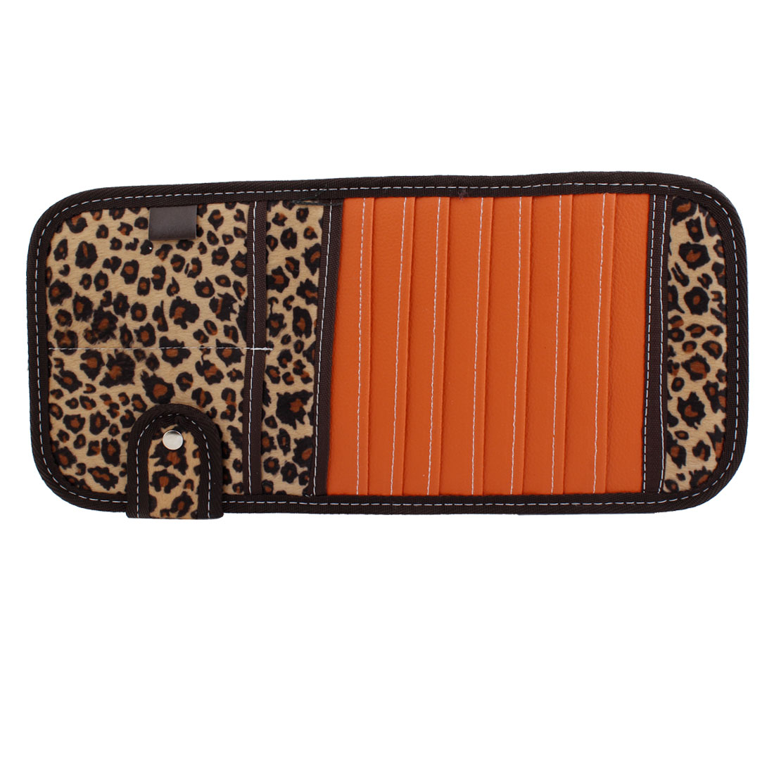 Leopard Pattern Retangle Shaped Visor CD Ticket Holder Storage Orange for Car