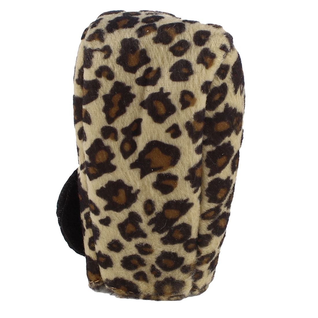 Leopard Pattern Brown Plush Automotive Auto Gear Shift Knob Cover Protector