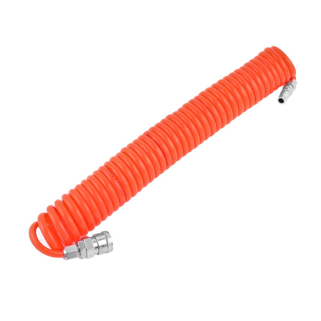 6M Length 8mm x 5mm Polyurethane PU Recoil Air Compressor Hose Tube Orange Red