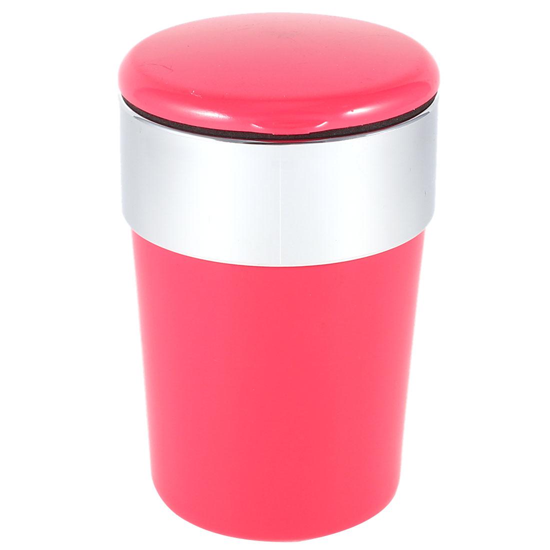 Automatic Red Plastic Flap Lid Blue LED Light Cigarette Ashtray Holder