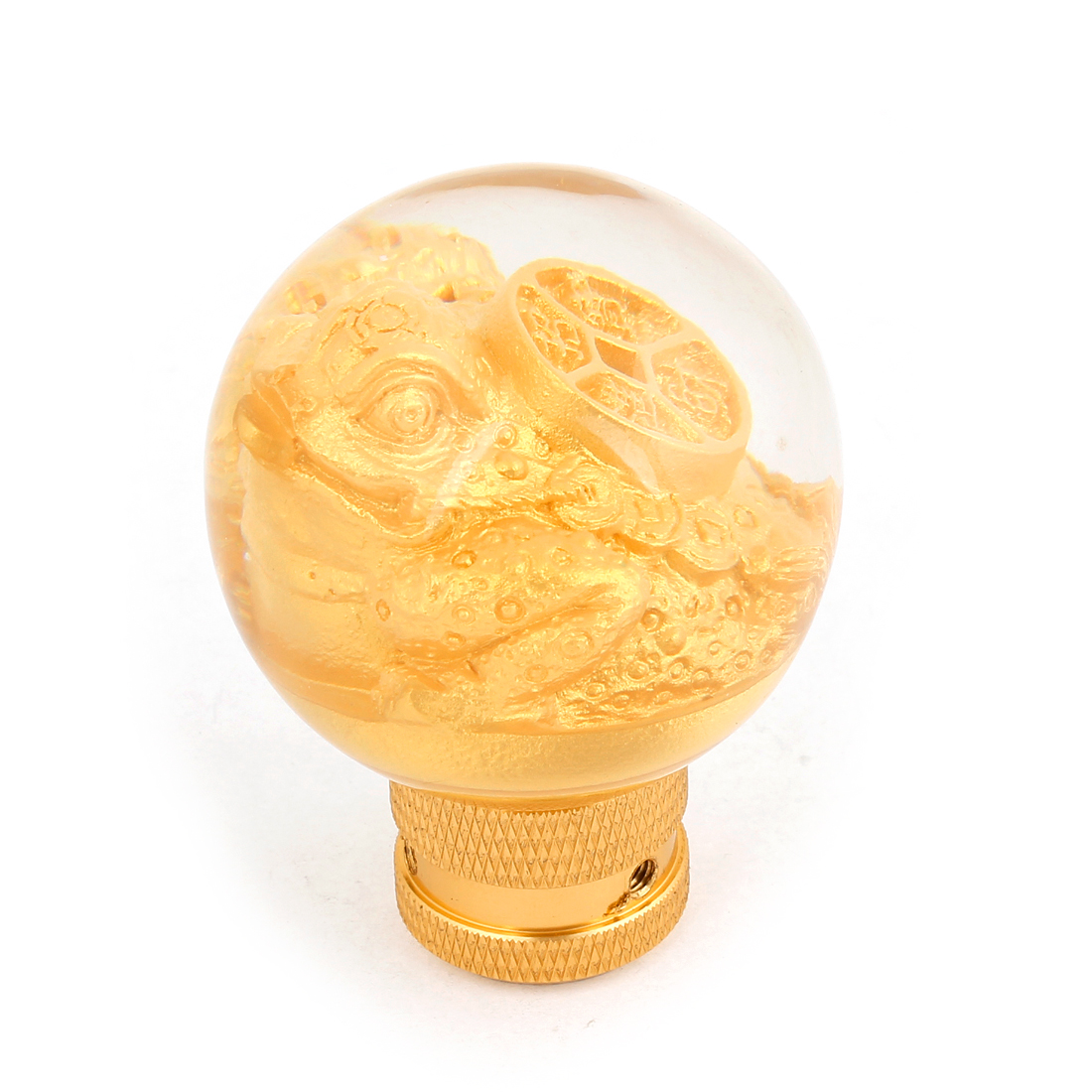 Auto Car Round Head Gold Tone Bufonid Style Gear Shift Lever Knob