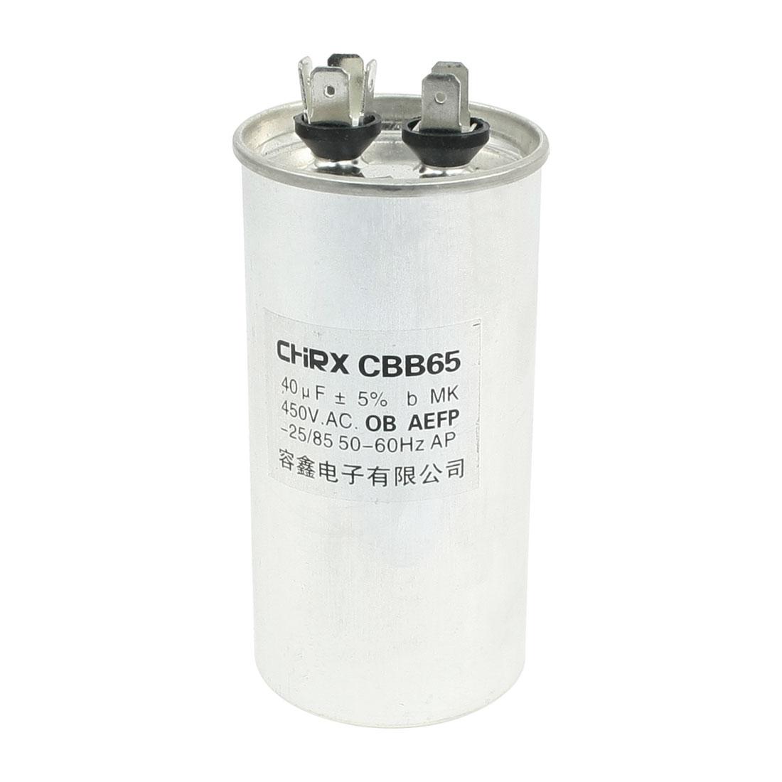 CBB65 450VAC 40uF Lug Terminals Non Polar Motor Run Capacitor