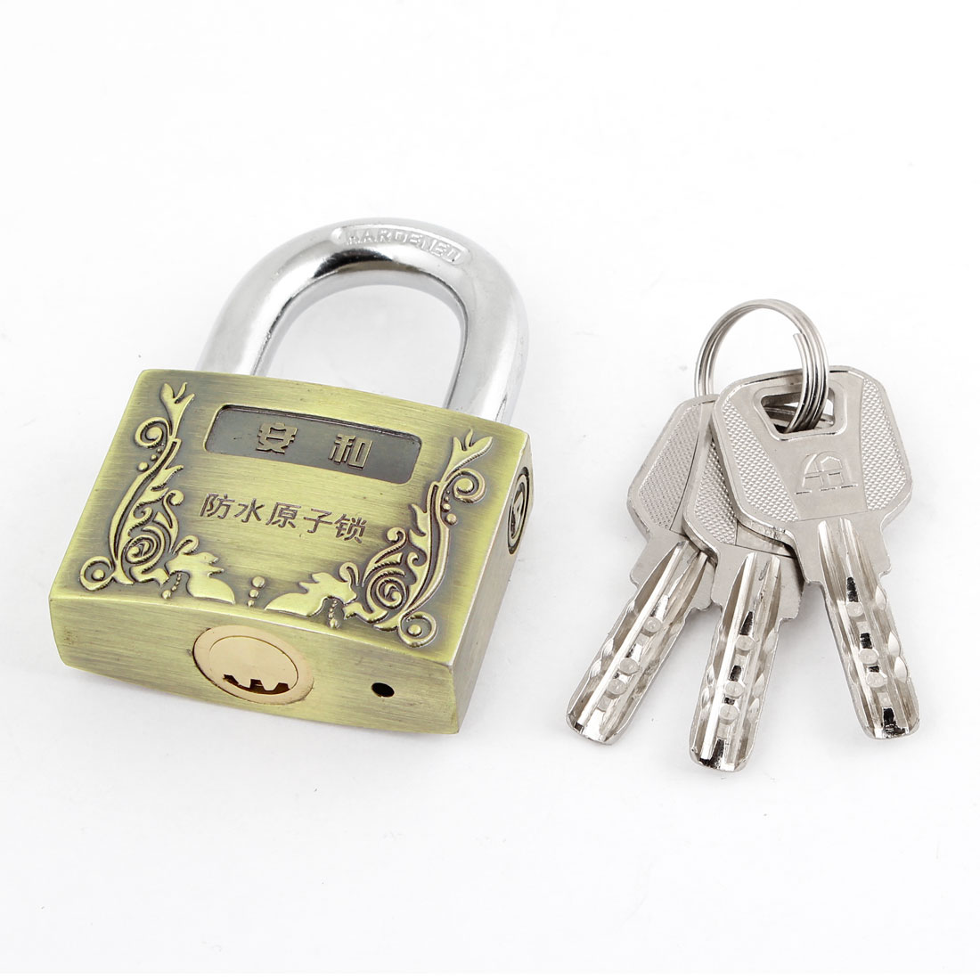 50mm Wide Keys Locking Bronze Tone Metal Security Padlock Lock