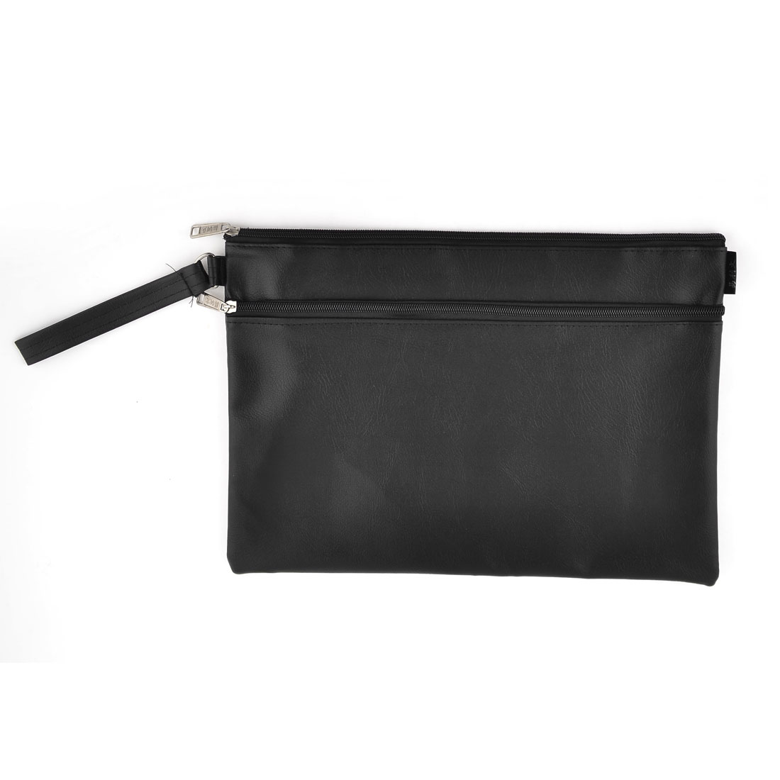 School Portable Hand Strap Zipper Closure Files Document Bag Black