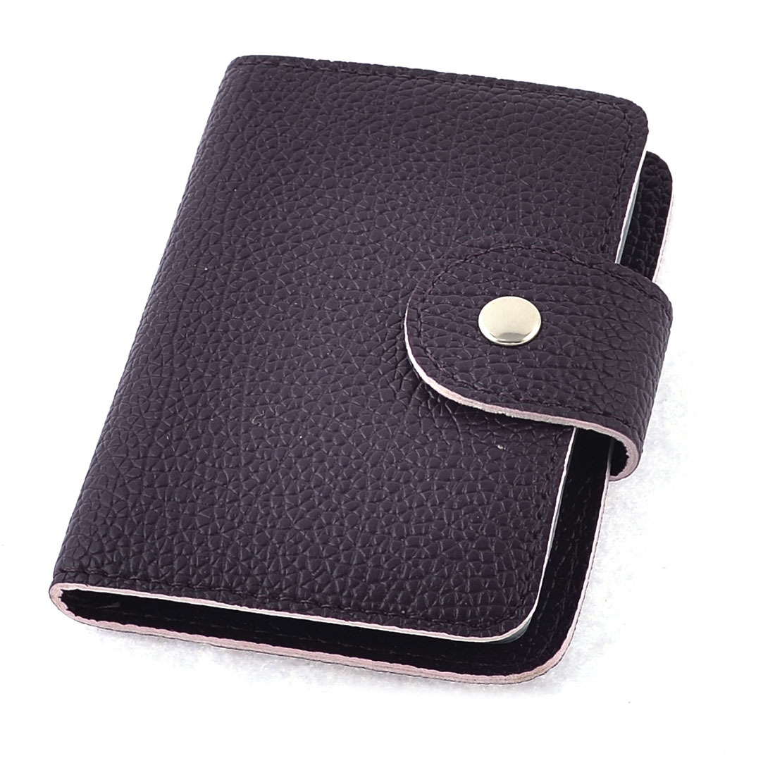 Dark Purple Rectangle Shaped Litchi Print Name Credit Card Holder Container