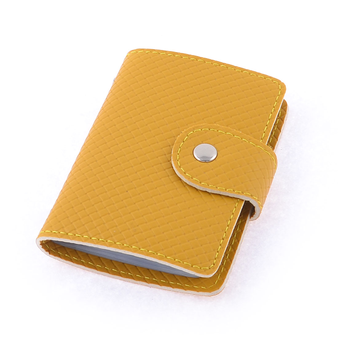 Yellow Rectangle Shaped Woven Print Name Credit Card Holder Container
